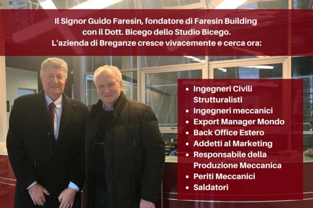 Il fondatore di Faresin Building, Guido Faresin, con il Dott. Bicego di Studio Bicego