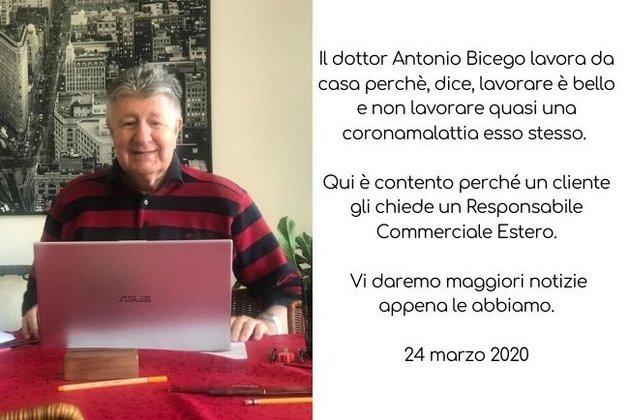 Antonio Bicego lavora da casa